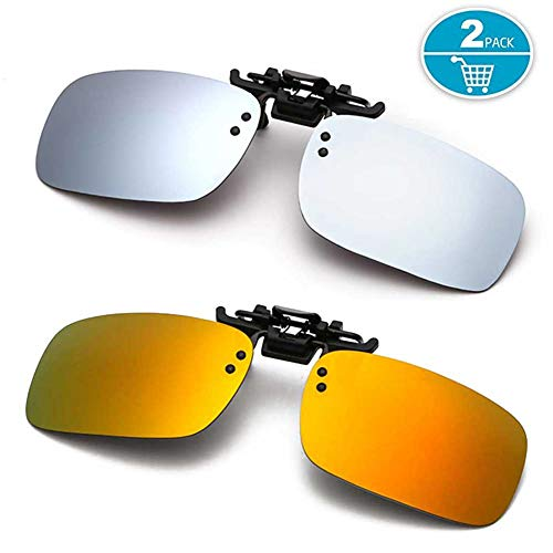 f029231b32 Clip-on Sunglasses Polarized Rectangular UV Protection Anti-Glare Flip up  Sunglasses Clip on Glasses for Prescription Eyeglasses (Silver + Orange)