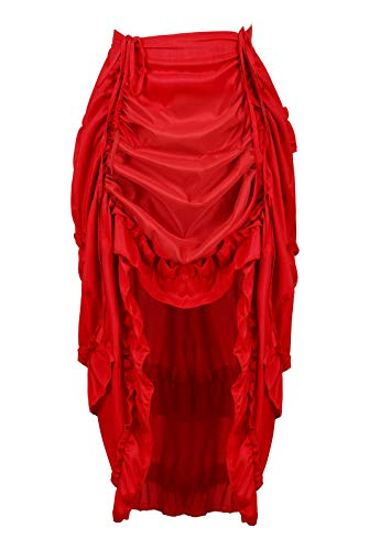 (Women's Steampunk Skirt Ruffle High Low Outfits Gothic Plus Size Pirate Dressing Red 3XL/4XL)