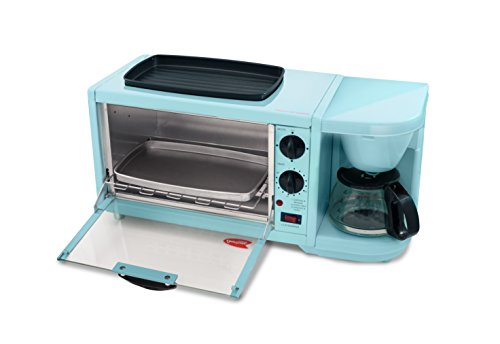Elite Cuisine EBK-300BL Maxi-Matic 3-in-1 Multifunction Breakfast Center W/ Toaster Oven, Griddle & Coffee Maker, Blue