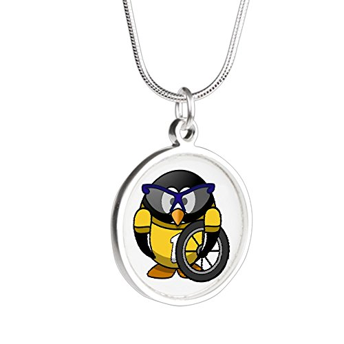 Silver Round Necklace Little Round Penguin - Cyclist in Yellow Jersey