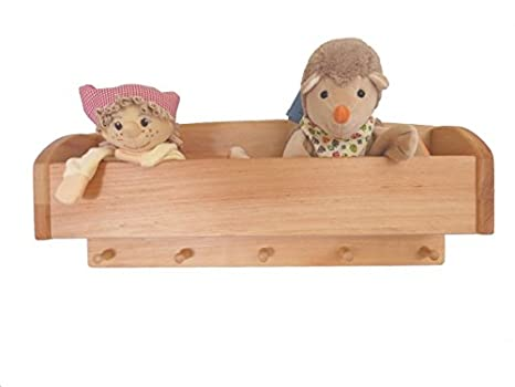 Perchero de pared infantil con gorros de estante, madera ...