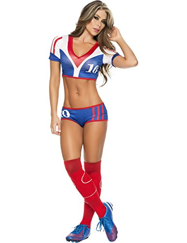 Espiral Lingerie Women's Vive La France Sexy 2 Piece World Cup Inspired Costume, Blue/White/Red, (Soccer Player Costumes)