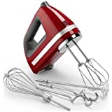 KitchenAid 9-Speed Hand Mixer (includes BONUS dough hooks, whisk, milk shake liquid blender rod attachment, and accessory bag)