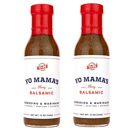 - Yo Mama's Foods Gourmet and All-Natural Honey Balsamic Vinaigrette Salad Dressing and Marinade - Low Carb, Low Sodium, and Gluten-Free!