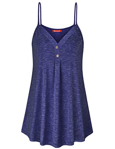 Blevonh Sleeveless Shirts for Women Plus Size, Women Spaghetti Strap Tank Top Light Weight Cool Maternity Cami Tunic Stretchable Flowing Vintage Undershirt Grpae XL Grape