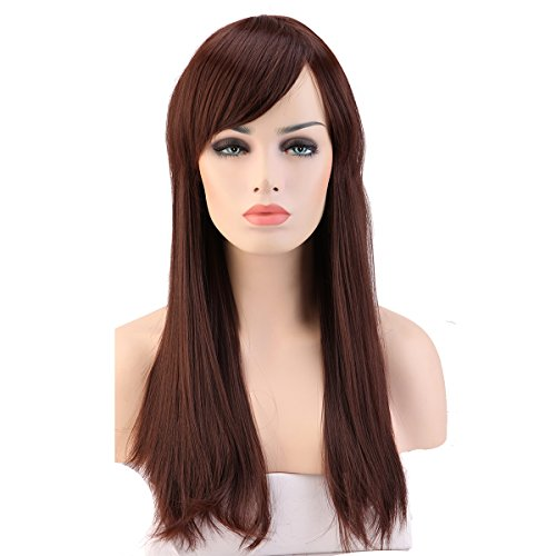 Heat Resistant Synthetic Wig Japanese Kanekalon Fiber 9 Colors Full Wig with Bangs Long Straight 23'' / 58cm + Stretchable Elastic Wig Net for Women Girls Lady Fashion and Beauty(Medium (Sexy Updo)