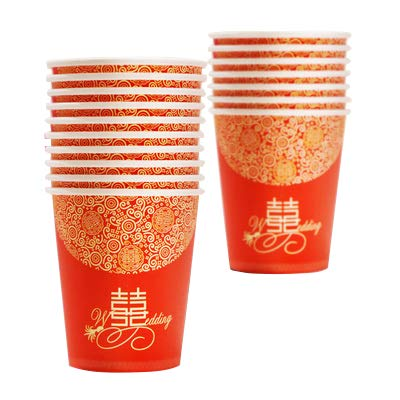 MasterChinese Chinese Wedding Party Double Happiness Paper Cups Small Size 50 Cups