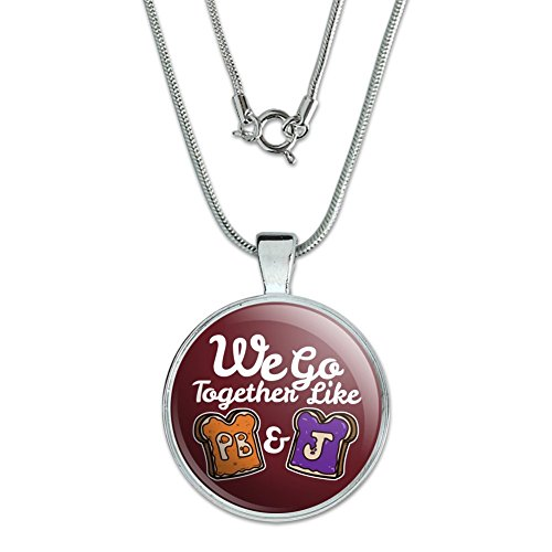 """GRAPHICS & MORE Peanut Butter and Jelly Together PB&J Best Friends 1"""" Pendant with Sterling Silver Plated Chain"""