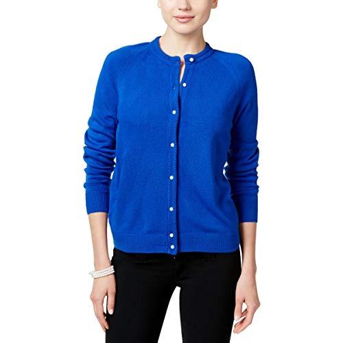Cardigan Trim Ribbed (Karen Scott Womens Petites Long Sleeves Ribbed Trim Cardigan Sweater Blue PXL)