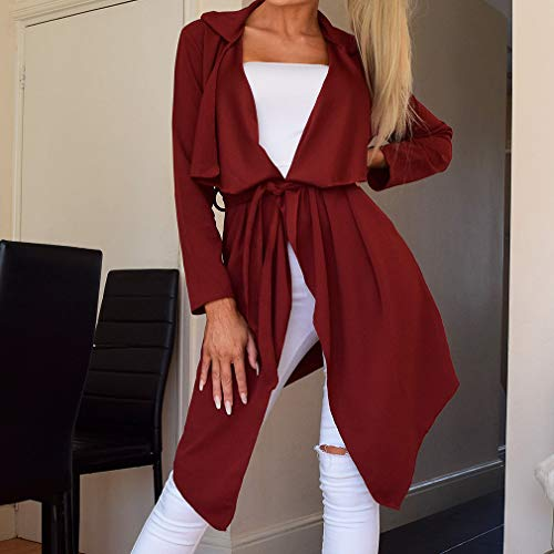 Cardigan Women Loose Trench S juqilu 2XL Wine Casual Autumn Coat Belted with Windbreaker Lapel Jacket Assymetric Red Coat 10qwdqH