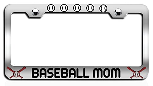 Makoroni - BASEBALL MOM Baseball Ch Steel License Plate Frame, License Tag Holder - Baseball License Plate Plates Tags