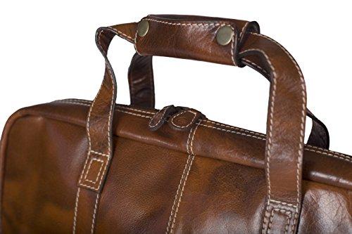 zuzugoo braun Leder Aktentasche mit Blau gestreiftes Futter