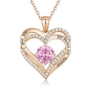 CDE Forever Love Heart Women Necklace 925 Sterling Silver Rose Gold Plated October Birthstone Pendant Necklaces for…