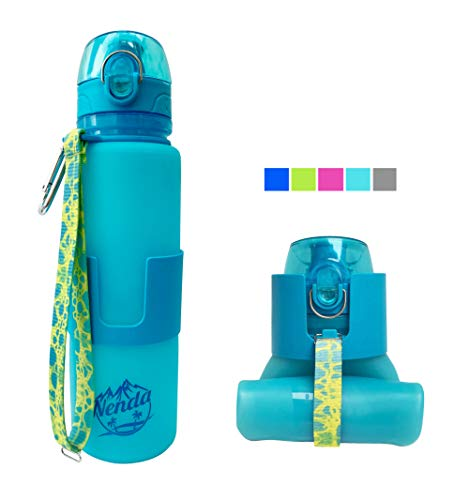Nenda reusable sports outdoor hiking foldable cute water bottle silicon camping backpacking workout water bottle accessories men women kids sky blue