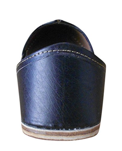 Kalra Creations - Zapatillas de estar por casa de piel sintética para hombre negro