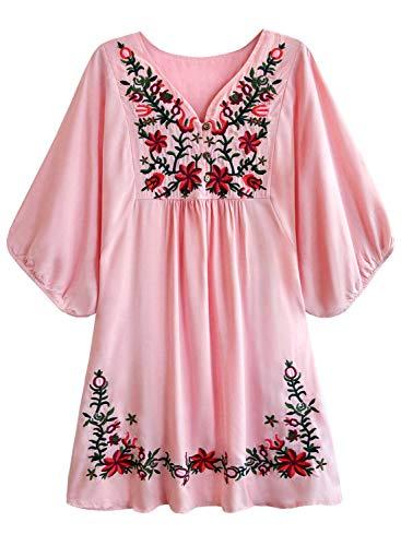 Doballa Women's Floral Embroidery Mexican Tunic Top Bohemian Flowy Shift Mini Blouse Dress (S, Peach) ()