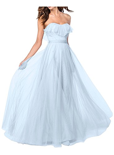 Wedding Tulle Bridesmaid Skyblue Prom Dress Ruffle Gown Women's Amore Bridal EqwStt