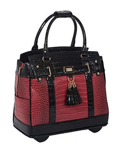 Baton Rouge II Burgundy, Red & Black Alligator Computer iPad, Laptop Tablet Rolling Tote Bag Briefcase Carryall Bag