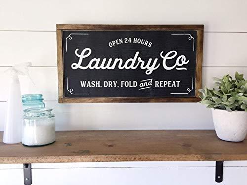 YSHDNDML Laundry Co - Cartel de Madera de Granja con Texto ...