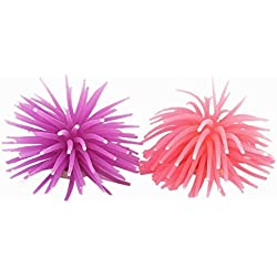 TOOGOO(R) Fish Tank Purple Pink Silicone Sea Anemone Artificial Coral Decor 2pcs