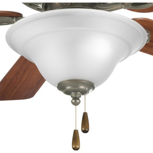 Progress Lighting P2628-20 2-Light Fan Kit with Etched Glass Bowl Quick-Connect Wiring, Antique Bronze