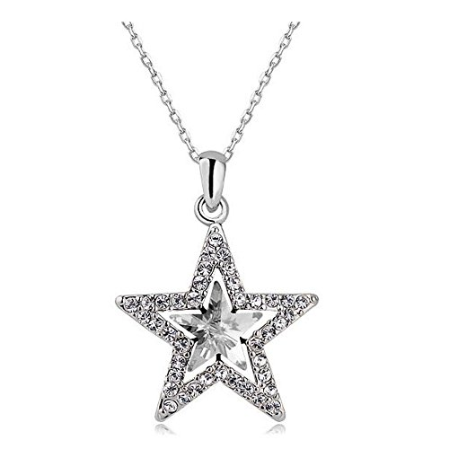 MUZHE Hollow Double Crystal Five-Point Star Pendant Necklace Ruby Sapphire Ruler Jewelry for Women (White)