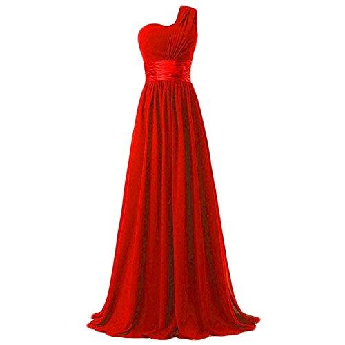 Wewind Damen One Shoulder Abendkleid Brautjunfernkeid Festkleider Chiffonkleid Rot GFuMjaI