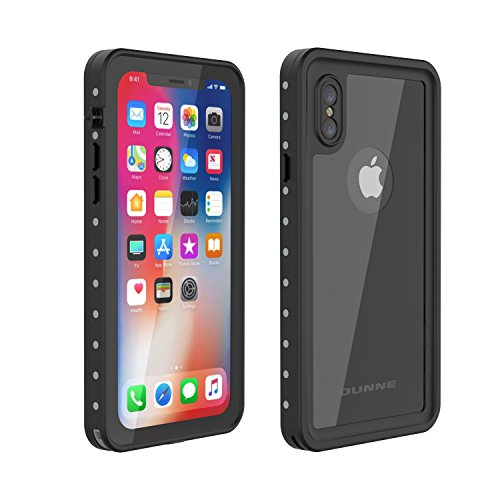 iPhone X Waterproof Case, OUNNE Underwater Full Sealed Cover Snowproof Shockproof Dirtproof IP68 Certified Waterproof Case with Built-in Screen Protector for iPhone X (5.8in)-Black-Mirror