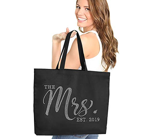 Jumbo Bride Tote Bag - Canvas The Mrs. Est. 2019 Rhinestone CHIC Black Tote(Chic 2019 RS) - Bag Canvas Tote Jumbo
