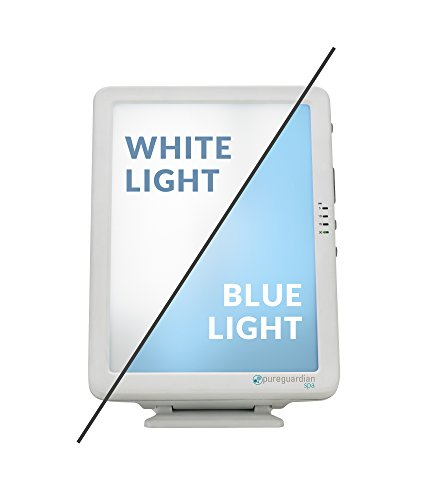 PureGuardian SPA50CA Light Therapy Lamp, 10,000 LUX Full Spectrum Customizable Blue or White Light Intensity, Timer, Compact, Portable, Pure Guardian SPA 50 Sun Lamp