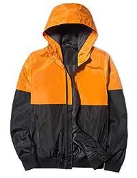 Mywu Men's Lightweight Colorblock Hooded Windbreaker Jacket