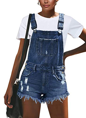 luvamia Women's Ripped Short Overalls Adjustable Stretchy Denim Overall Shorts Romper A-Denim Blue Size Large