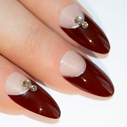 [Bling Art Stiletto False Nails Fake Acrylic Red Brown Crystal Full Medium Tip UK] (Red Fake Nails)
