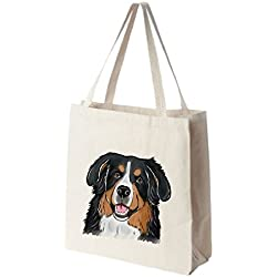 Bernese Mountain Dog Tote Bags - Over 200 Different Breed and Animal Designs to Choose From - Extra Large 100% Cotton Over the Shoulder Handbags - Painted by Hand and Printed in the U.S.A.