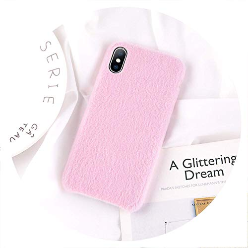 Plush Kyo - Soft Plush Phone Case for Apple iPhone 8 7 6 6S Plus for iPhone X XR XS Max Winter Warm Fur Furry Cover, Heart Black,for iPhone X,Pink,ForiP