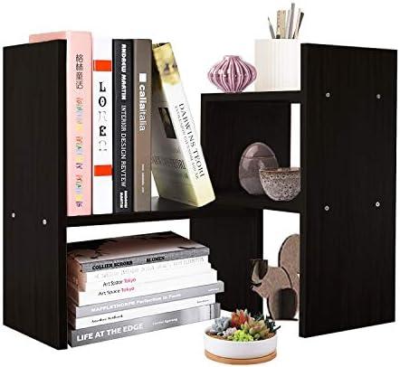 DL furniture Expandable Wood Desktop Storage Organizer Multipurpose Desk Bookshelf Display Shelf Rack Counter Top Bookcase for Office Home Black
