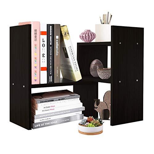 Organizer Wood Multi Desktop Purpose (DL furniture Expandable Wood Desktop Storage Organizer Multipurpose Desk Bookshelf Display Shelf Rack Counter Top Bookcase for Office Home | Black)