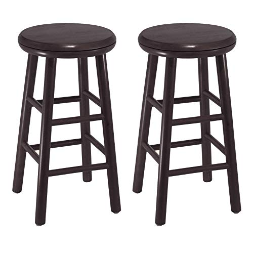 Love n Care Swivel Backless Counter Stools, Set of Two, Transitional Style, Solid Wood Construction, Round Seat, Perfect for Kitchen, Pub, Home Furniture, Multiple Finishes (25