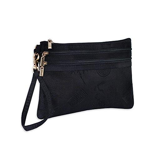 3 Zip Wristlet Pouch - Silk Jacquard (Black)
