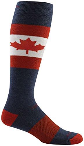 (Darn Tough Merino Wool Ski O Canada Over-The-Calf Ultralight Sock - Men's Maple Large)