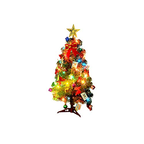 BELUPAID Pre-Lit Mini Christmas Tree,18inch Artificial Christmas Tree Fir Decor Desk Table Home Party with Ornaments Multicolored LED Lights Metal Stand for Christmas Decoration Supplies