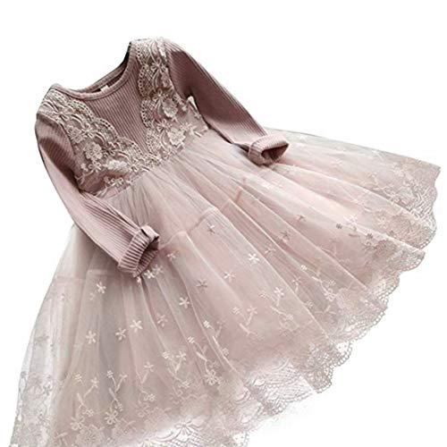 kids Showtime Toddler Flower Girl Dress Winter Long Sleeve Tutu Party Dresses for Girls 3-7 Years, Knee-Length (Dusty Roses,120) -