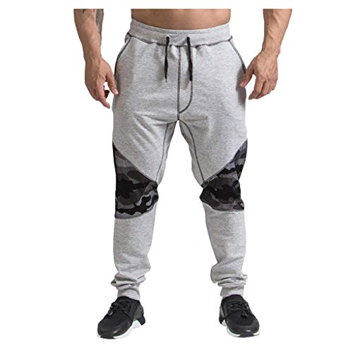 Pafei mens pants Men's Sweatpant,Print Patchwork Elastic Waist Loose Jogger Hiking Running Outdoor Sports Trousers Gray