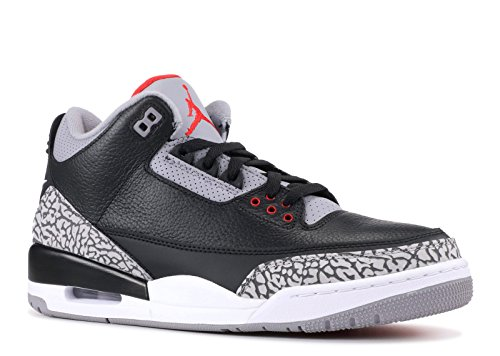 Jordan Air 3 Retro OG Men's Basketball Shoes Black/Fire Red/Cement Grey 854262-001 (10.5 D(M) US) by Jordan