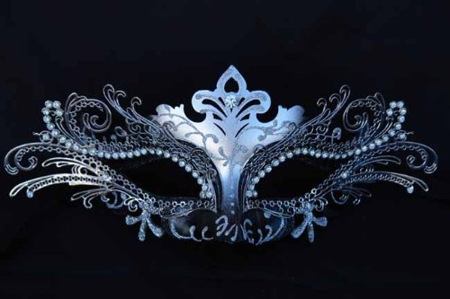 Vintage Venetian Swan Princess Inspired Design Laser Cut Masquerade Mask - Finely Decorated and Intricately Detailed - Black and Silver -