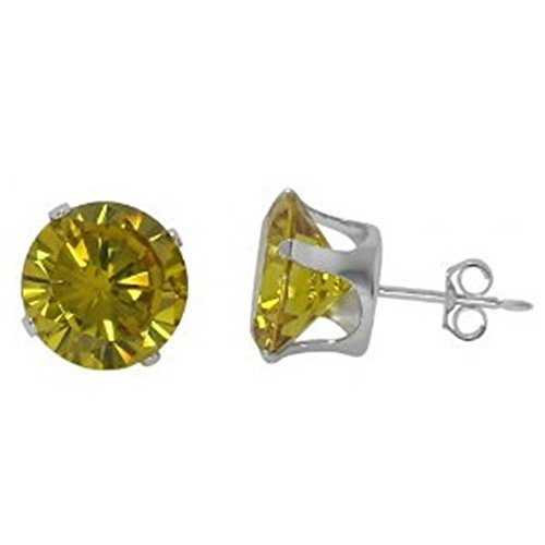 (3mm Stud Post Earrings Simulated Canary Yellow CZ 925 Sterling Silver Round CZ Solitaire Stud)