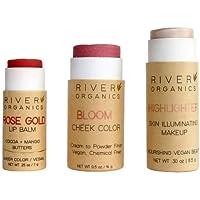 River Organics, Rose Gold Lip Balm + Bloom Blush + Highlighter Makeup Set