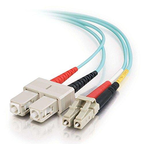 C2G/Cables to Go 33052 LC-SC  10GB 50/125 OM3 Duplex Multimode PVC Fiber Optic Cable, Aqua (2 Meter)