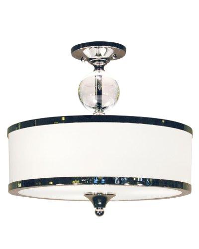 Z-Lite 307SF-CH Cosmopolitan Three Light Semi Flush Mount, Metal Frame, Chrome Finish and White Shade of Glass Material