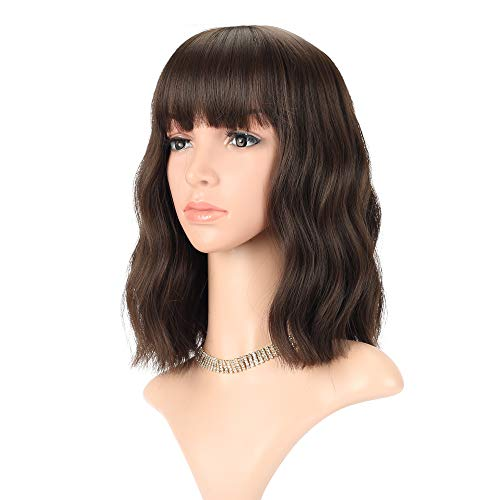 FAELBATY Wavy Wig Short Bob Wigs With Air Bangs Shoulder Length Women's Wig Curly Wavy Synthetic Cosplay Wig Pastel Bob Wig for Girl Costume Wigs Natural Black Dark Brown Mix Color